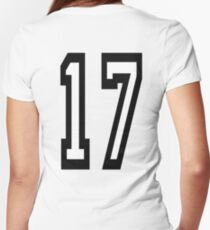 17, TEAM SPORTS, NUMBER 17, SEVENTEEN, SEVENTEENTH, ONE, SEVEN, Competition,  Women's Fitted V-Neck T-Shirt