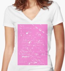 Geek Chic (White on Pink) Women's Fitted V-Neck T-Shirt