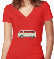 Tin Top Early Bay standard pale green and white Women's Fitted V-Neck T-Shirt
