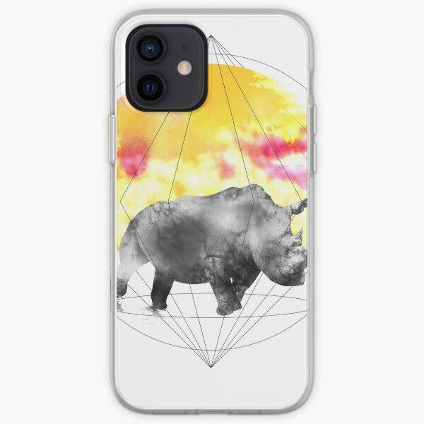 sunset rhino iPhone Soft Case
