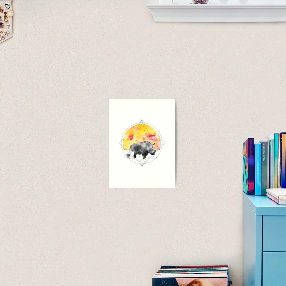 sunset rhino Art Print