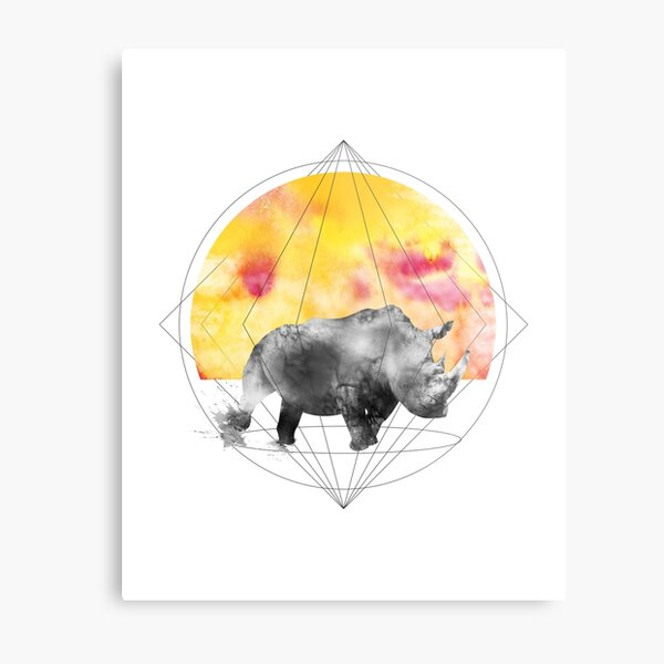 sunset rhino Metal Print