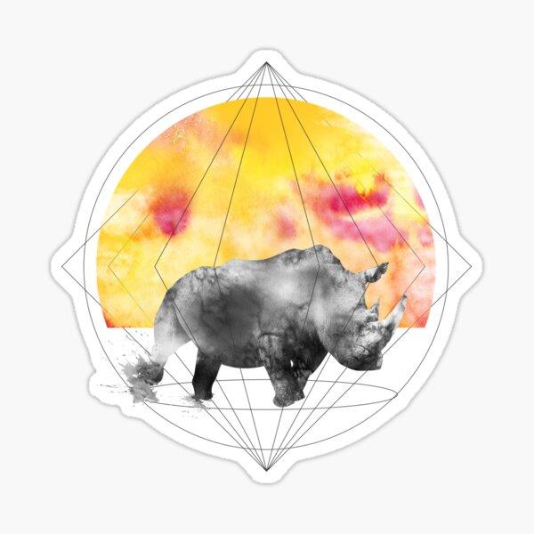 sunset rhino Sticker