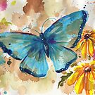 Watercolor Butterfly with BlackEyedSusan by justteejay
