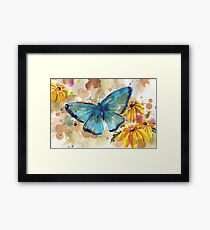 Watercolor Butterfly with BlackEyedSusan Framed Print