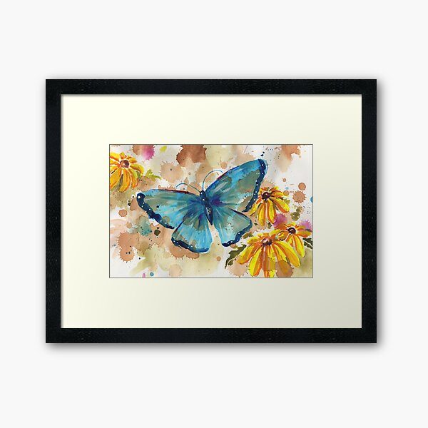 Watercolor Butterfly with BlackEyedSusan Framed Art Print