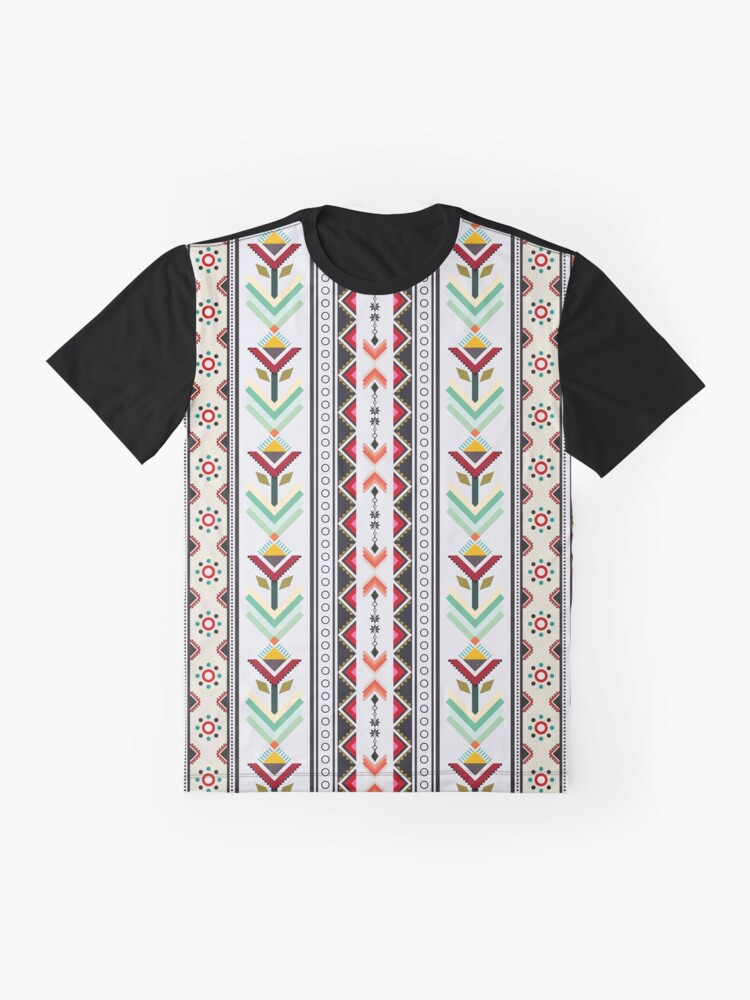 Alternate view of Colorful red vertical geometric triangle mix circle oriental with black floral  traditional Design for seamless fashion fabric pattern background Graphic T-Shirt