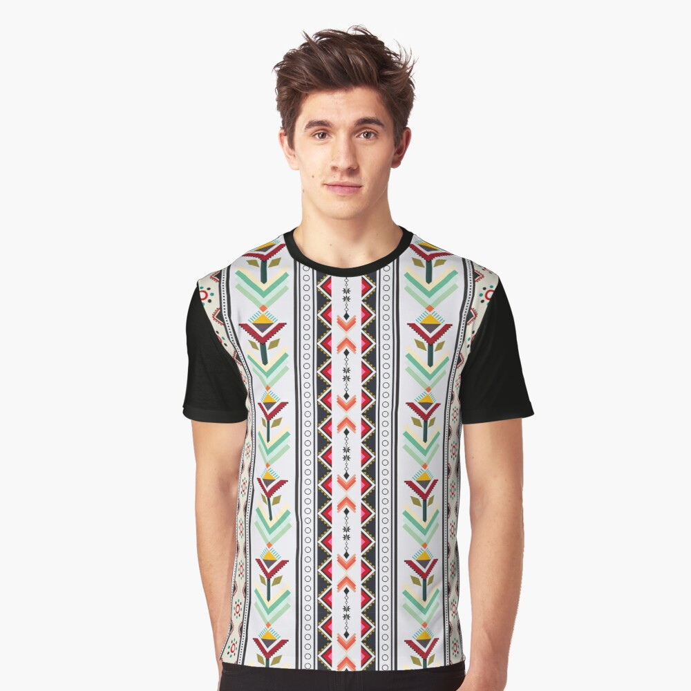 Colorful red vertical geometric triangle mix circle oriental with black floral  traditional Design for seamless fashion fabric pattern background Graphic T-Shirt