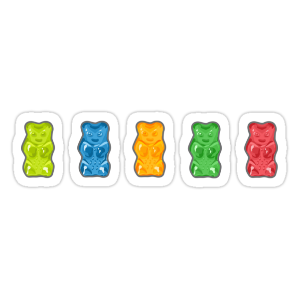 Quot Rainbow Gummy Bears Quot Stickers By Xooxoo Redbubble