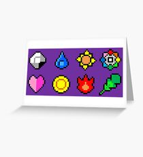 Kanto League Pokemon Master Badges  Greeting Card