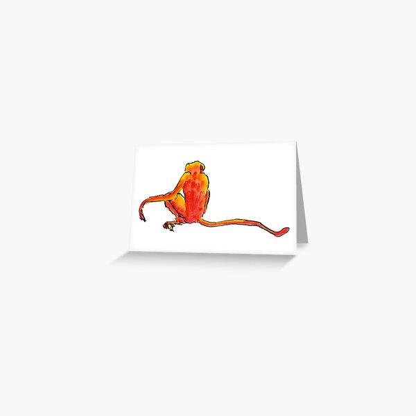 Sitting Red Monkey Greeting Card