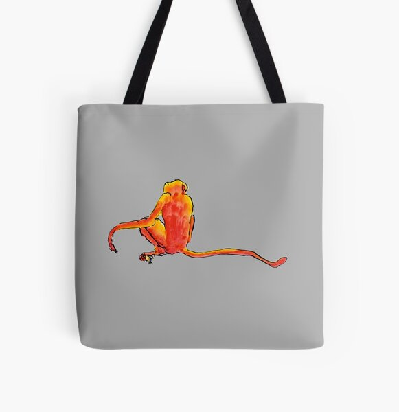 Sitting Red Monkey All Over Print Tote Bag