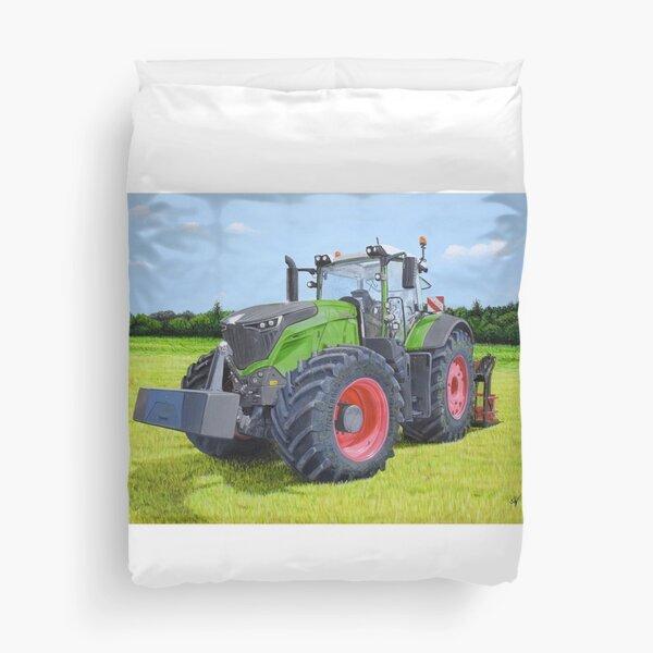 Tracteur vert dans le champ Housse de couette