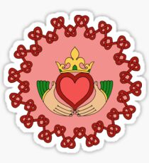 Claddagh and Red Knotwork on Pink Sticker
