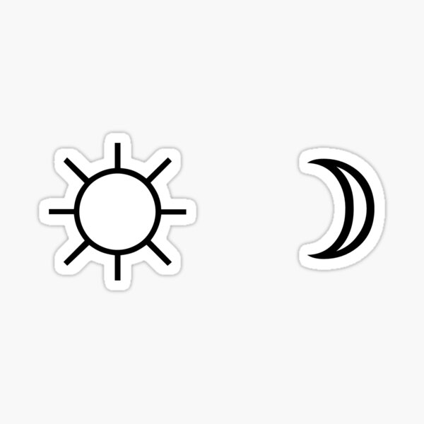 Sun and Moon minimalist aesthetic black and white tumblr design Sticker