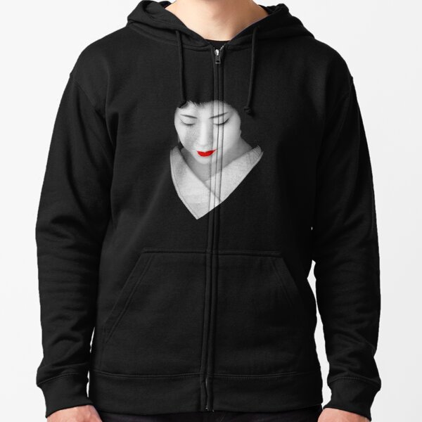 Geisha red lip Zipped Hoodie