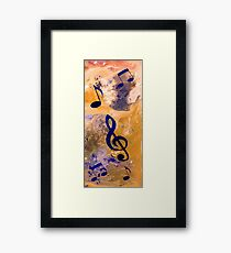 Abstract Acrylic Painting Music Notes Framed Print