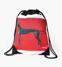 Black Greyhound Drawstring Bag