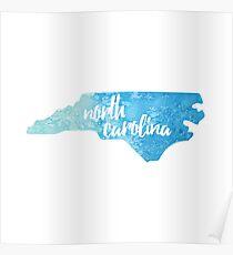 North Carolina - blue watercolor Poster