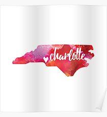 Charlotte, North Carolina - pink watercolor  Poster