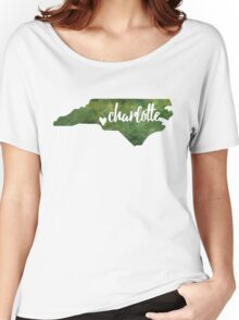 Charlotte, North Carolina - green watercolor Women's Relaxed Fit T-Shirt