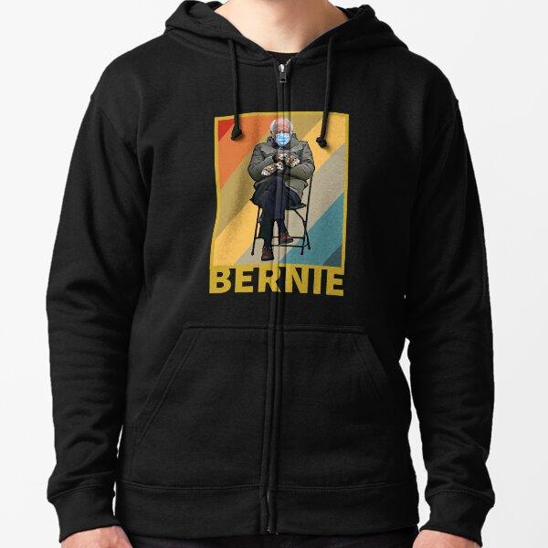 Bundled Up Bernie Meme - Funny Mittens Sitting In Chair Zipped Hoodie