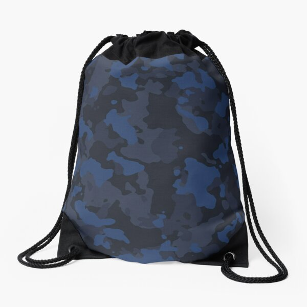 Blue Camo Drawstring Bag
