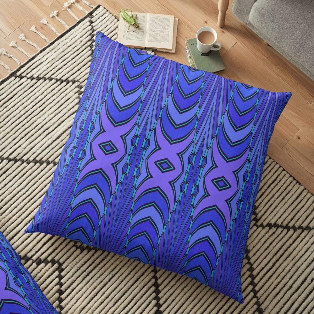 Modern Geometric Blue Purple Pattern Design 1339 Floor Pillow