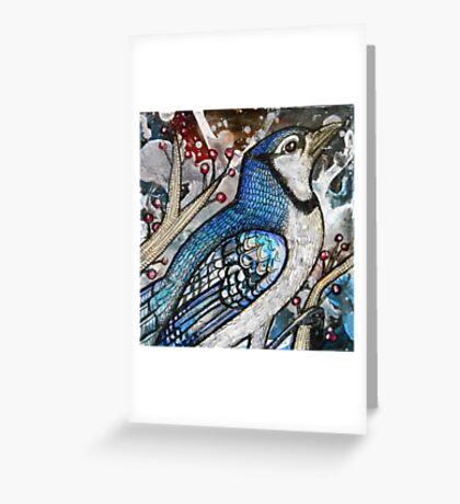 Winter Blue Jay Greeting Card