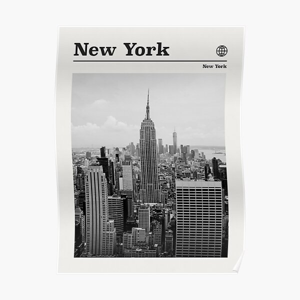 New York City Travel Poster Vintage Black and White • New York City Retro Travel Poster Minimalist  • NYC Travel Poster Poster