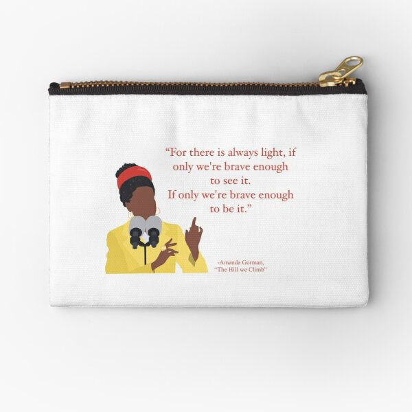 """Amanda Gorman """"The Hill We Climb"""" Illustrated Quote Red Zipper Pouch"""