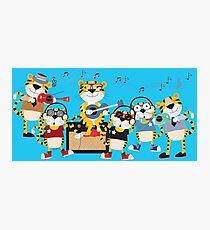 Cartoon Animals Tigers Rock Band Musical Photographic Print