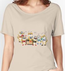 Cartoon Animals Tigers Rock Band Musical Women's Relaxed Fit T-Shirt