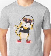 Cartoon Animals Tiger Listening To Music Unisex T-Shirt