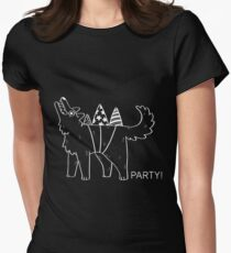 Party Dog – B&W Women's Fitted T-Shirt