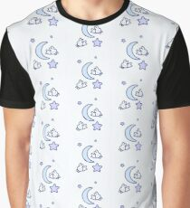 Jumping Moon Bunny in Soft Blue Graphic T-Shirt