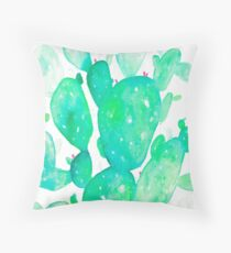 Green Watercolour Cactus Throw Pillow