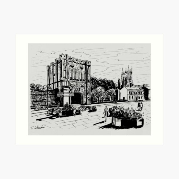 Bury St Edmunds Abbey Gate Ink Sketch Art Print