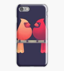 Northern cardinals on a Japanese maple tree iPhone Case/Skin