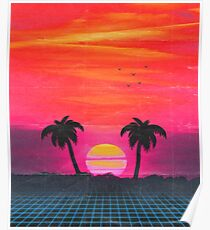 Retro sunset 2 Poster