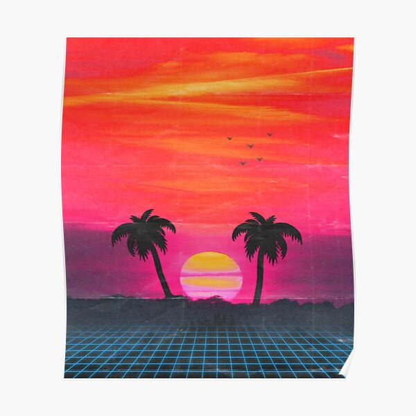 Retro sunset 2 Poster