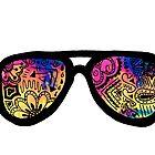 Galaxy Watercolor Zentangle Sunglasses by alexavec