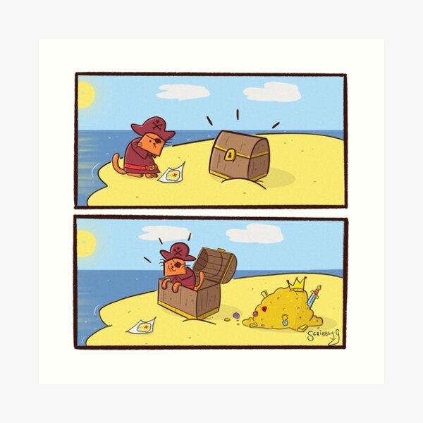 Scribbly G Pirate Kitty Comic Art Print