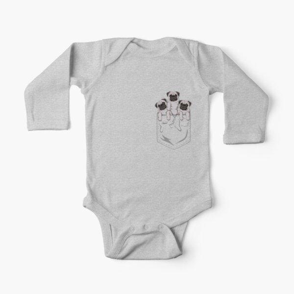 Pocket Pug Long Sleeve Baby One-Piece