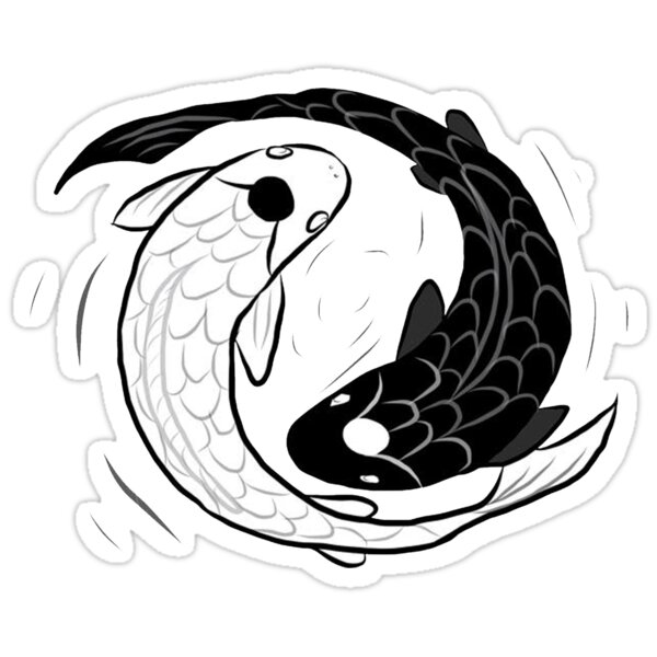 Quot Ipad Drawing Of Koi Fish Ying Yang Quot Stickers By