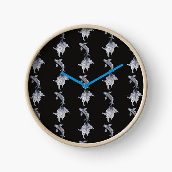 Poisson ligne fine noir et blanc - Noir Horloge