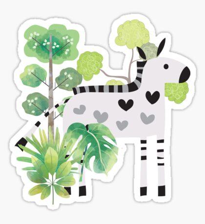 Animals Cartoon Zebra in Jungle Sticker