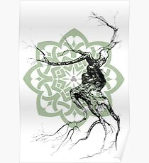 Celtic world tree ink drawing Poster