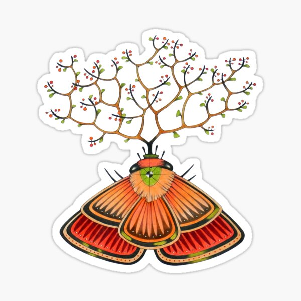 tree - moth (original sold) Sticker