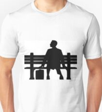 Forrest Gump Silhouette sitting on Bench Unisex T-Shirt